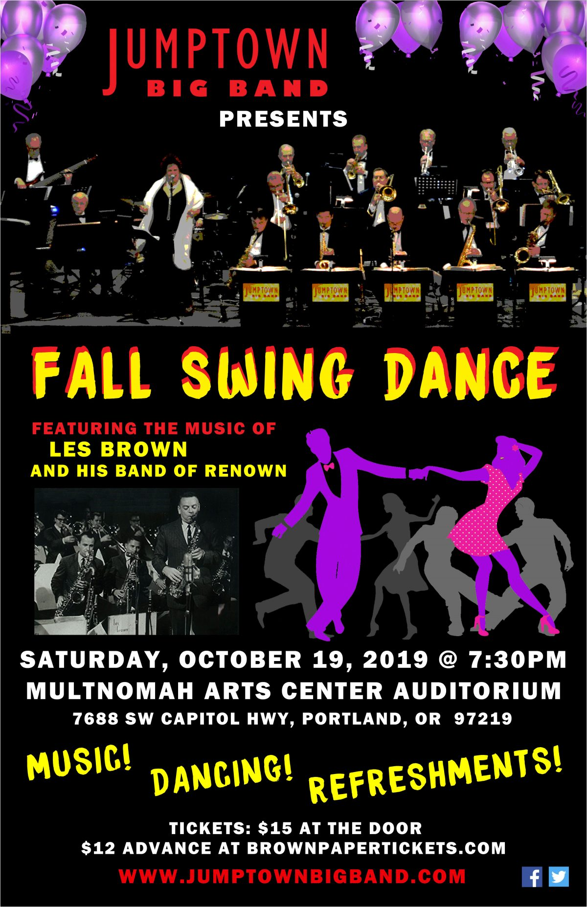 October 19, 2019 – Fall Swing Dance at Multnomah Arts Center